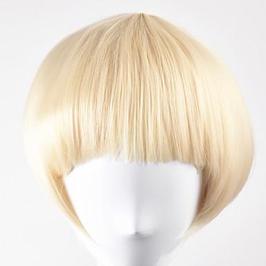 人工毛ウィッグ ストレート ボブスタイル・ヘアカット 合成 ブロンド かつら 女性用 ショート キャップレス