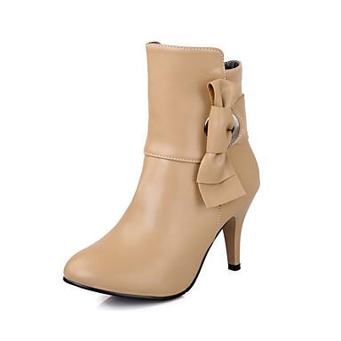 Dame-PU-Stiletthæl-Komfort-Støvler-Kontor og arbeid Formell Fritid-Svart Mandel