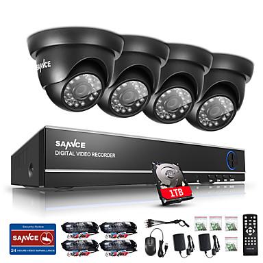 sannce® 720p HD sistema de aire libre IR cámaras de seguridad DVR de 4 canales CCTV 1080n disco duro incorporado de 1 TB