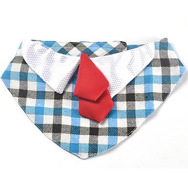犬 ネクタイ/ボウタイ 犬用ウェア キュート カジュアル/普段着 格子柄 ブルー