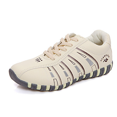 Mulheres Sapatos Couro Ecológico Primavera / Outono Conforto Tênis Sem Salto Ponta Redonda Cadarço Bege