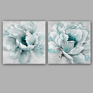 Håndmalte Blomstret/Botanisk Kvadrat, Klassisk Moderne Lerret Hang malte oljemaleri Hjem Dekor To Paneler
