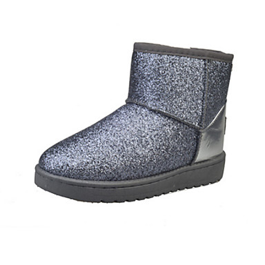 Dame-Kunstlær-Flat hæl-Komfort-Støvler-Fritid-Svart Rosa Sølv