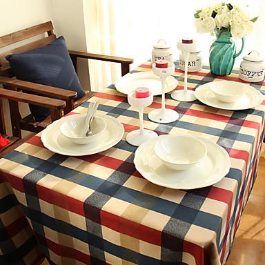Neliö Gingham Table Cloths , 100% puuvillaa materiaali Hotel ruokapöytä Häihin Illallinen Taulukko Dceoration Illallinen sisustus Favor