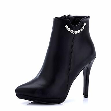 レディース 靴 レザーレット 冬 ブーティー ブーツ スティレットヒール ポインテッドトゥ 用途 ドレスシューズ ブラック レッド