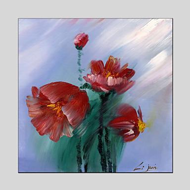 手描きの 抽象画 / 花柄/植物の 油彩画+プリント,Modern / クラシック 1枚 キャンバス ハング塗装油絵 For ホームデコレーション