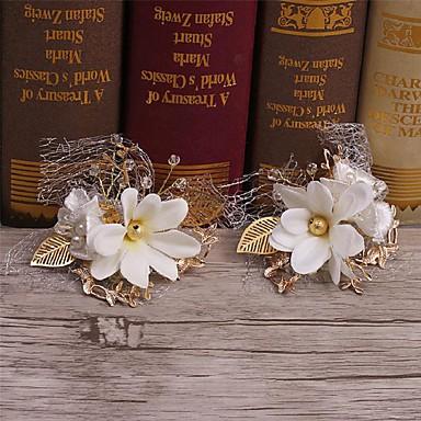 成人用 合金 人造真珠 ファブリック かぶと-結婚式 パーティー カジュアル ヘアクリップ 2個
