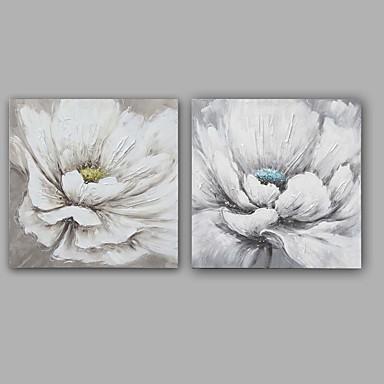 Håndmalte Abstrakt Blomstret/BotaniskKlassisk Moderne To Paneler Lerret Hang malte oljemaleri For Hjem Dekor