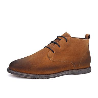 Herre sko Semsket lær Vår Høst Vinter Komfort Trendy støvler Støvler Til Avslappet Svart Brun Kakifarget