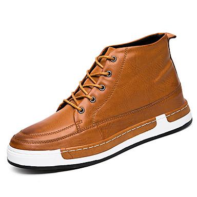 Miehet kengät Tekonahka Kevät Kesä Syksy Talvi Comfort Muotisaappaat Bootsit Käyttötarkoitus Kausaliteetti Musta Harmaa Ruskea