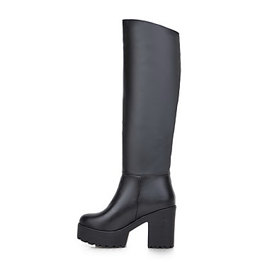 Dame-PU-Tykk hæl-Komfort / Gladiator-Støvler-Kontor og arbeid / Formell / Fritid-Svart / Hvit
