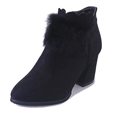 Dame Støvler Kampstøvler Pels Kashmir Vinter Avslappet Gange Kampstøvler Tykk hæl Platå Svart Militærgrønn 5 - 7 cm
