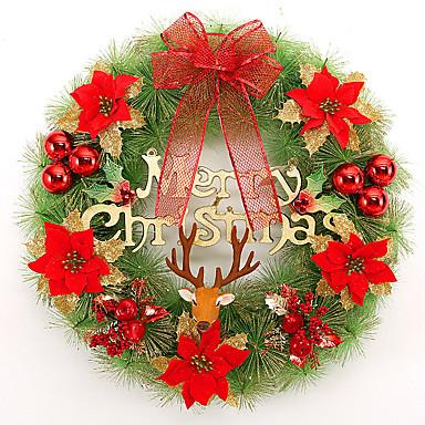 クリスマスリースの松葉ホームパーティー直径30センチメートルNAVIDAD新年用品のクリスマスデコレーション