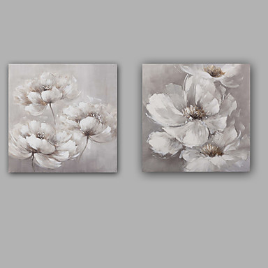 手描きの 抽象画 花柄/植物の クラシック 近代の キャンバス ハング塗装油絵 ホームデコレーション 2枚