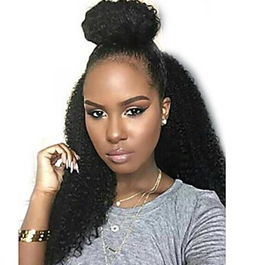 Naisten Aitohiusperuukit verkolla Aidot hiukset Lace Front Liimaton puoliverkko 130% Tiheys Afro Peruukki Musta Keskikokoinen Pitkä