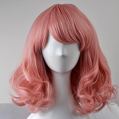 人工毛ウィッグ ストレート バング付き 密度 キャップレス 女性用 ピンク カーニバルウィッグ ハロウィンウィッグ ナチュラルウィッグ ショート 合成
