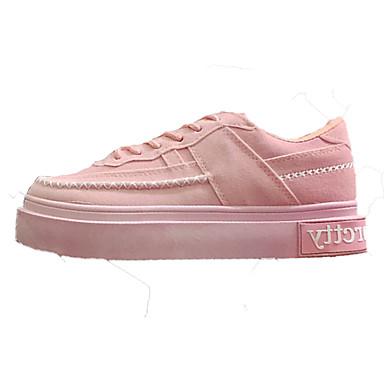 Dame-Semsket lær-Flat hæl-Komfort-Flate sko-Friluft Fritid-Svart Rosa Hvit
