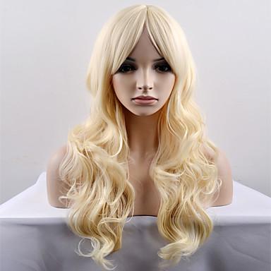 人工毛ウィッグ ナチュラルウェーブ 合成 ブロンド かつら 女性用 ロング / 非常に長いです キャップレス
