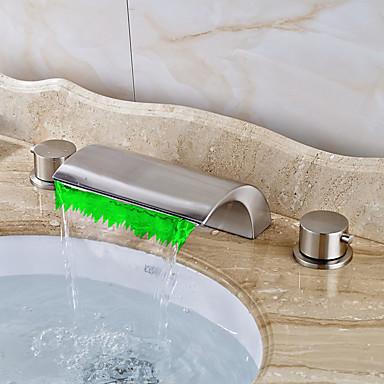 アールデコ調/レトロ風 組み合わせ式 滝状吐水タイプ LED セラミックバルブ 三つ 二つのハンドル三穴 ブラッシュドニッケル , バスルームのシンクの蛇口