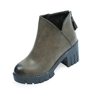Dame-PU-Tykk hæl-Komfort-Støvler-Fritid-Svart Kakifarget