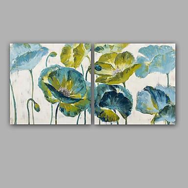 Pintura a Óleo Pintados à mão - Floral / Botânico Clássico Modern Tela de pintura