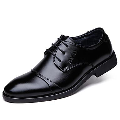 Miehet kengät PU Syksy Talvi Comfort Oxford-kengät Solmittavat Käyttötarkoitus Kausaliteetti Musta