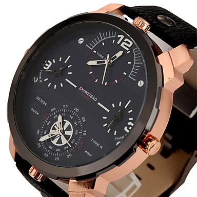 7ce5f104092 Homens Relógio Esportivo Relógio Militar Relógio de Pulso Quartzo Três  Fusos Horários Legal Punk Couro Banda