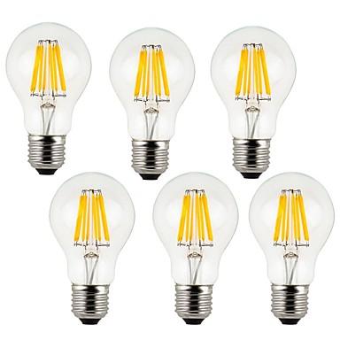 abordables Ampoules électriques-KWB 6pcs 7 W Ampoules à Filament LED 760 lm E26 / E27 A60(A19) 8 Perles LED COB Décorative Blanc Chaud Blanc Froid 220-240 V / 6 pièces / RoHs
