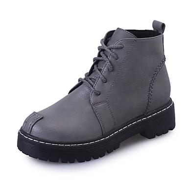 Dame-PU-Flat hæl-Komfort-Støvler-Fritid-Svart Grå Lysebrun
