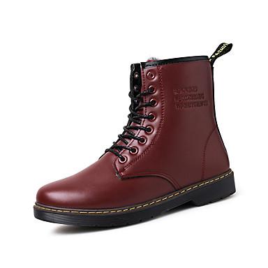 Herre-Lær-Lav hæl-Komfort-Støvler-Friluft Fritid-Svart Brun Rød
