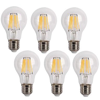 KWB 6kpl 600 lm E26/E27 LED-hehkulamput A60(A19) 6 ledit COB Koristeltu Lämmin valkoinen Kylmä valkoinen AC 220-240V