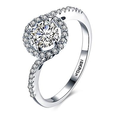Ring Kubisk Zirkonium Kjærlighed Hjerte Luksus Smykker Platin Belagt Fuskediamant Sølv Smykker TilBryllup Halloween Engasjement Daglig