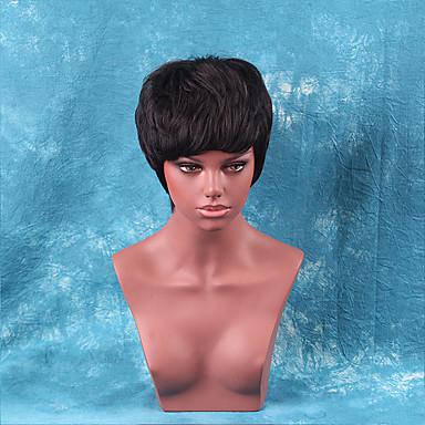 luonnollinen suora aaltoileva lyhyet hiuksista peruukit musta nainen