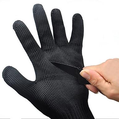 1対黒作業安全手袋カット性保護ステンレス鋼ワイヤ肉屋抗切断手袋