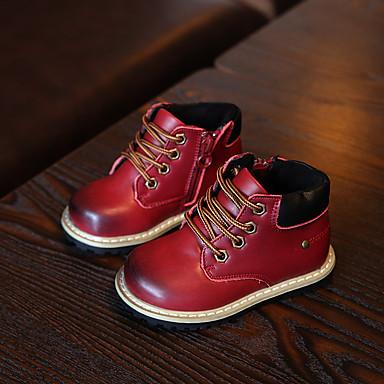 男の子 靴 レザー 冬 コンフォートシューズ コンバットブーツ ブーツ フラットヒール 編み上げ 用途 カジュアル ブラック Brown レッド