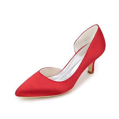 Női Cipő Szatén Tavasz / Nyár Magasított talpú Esküvői cipők Tűsarok Erősített lábujj Kék / Világosbarna / Kristály / Party és Estélyi