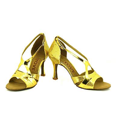 Kan spesialtilpasses-Dame-Dansesko-Latinamerikansk / Salsa-Glitter-Kustomisert hæl-Svart / Blå / Rosa / Rød / Sølv / Gull