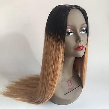 T1B / 27オンブルuの部分かつらuは人間の髪の毛のかつらをパート絹のようなストレートブラジルのバージン毛中央部