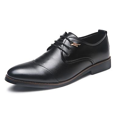 Miehet kengät PU Syksy Talvi Comfort Bullock kengät Oxford-kengät Solmittavat Käyttötarkoitus Kausaliteetti Musta
