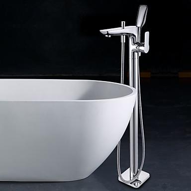 コンテンポラリー 床取付け 床置き セラミックバルブ 一つ シングルハンドルつの穴 クロム, 浴槽用水栓