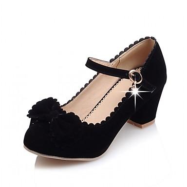 Mulheres Sapatos Couro Envernizado / Microfibra Primavera / Verão Conforto / Inovador Saltos Caminhada Salto Robusto Ponta Redonda Laço