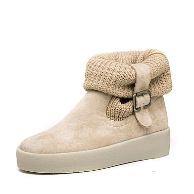 Dame-Fleece-Flat hæl-Komfort-Støvler-Kontor og arbeid Fritid-Beige