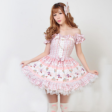 Classic Lolita Dress Princess Women's One Piece Dress Cosplay Short Sleeves
