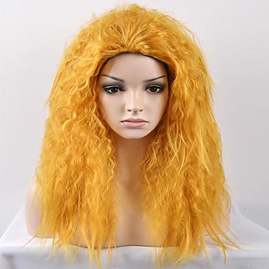 Pelucas sintéticas Mujer Afro / Kinky Curly Pelo sintético Peluca Media Sin Tapa Amarillo