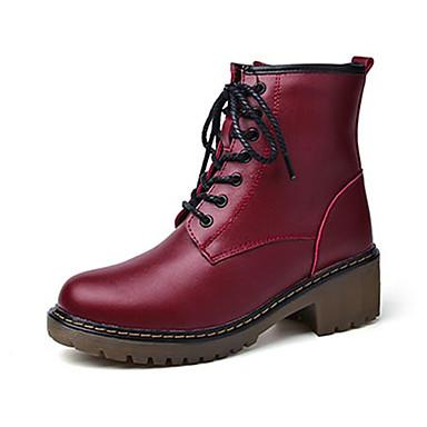 Miesten kengät PU Syksy Talvi Comfort Bootsit Solmittavat varten Kausaliteetti Musta Punainen
