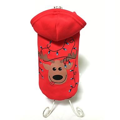Cachorro Casacos / Camisola com Capuz Roupas para Cães Rena Vermelho Algodão Ocasiões Especiais Para animais de estimação Homens / Mulheres Mantenha Quente / Fashion / Natal