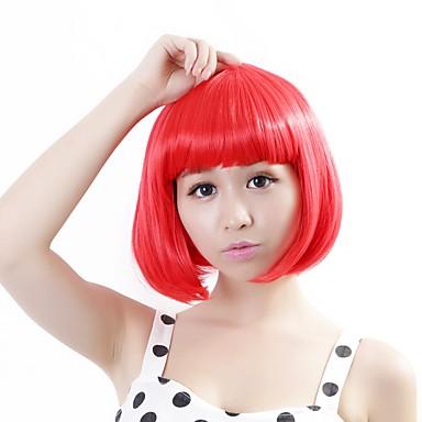 Γυναικείο Συνθετικές Περούκες Χωρίς κάλυμμα Ίσια Κόκκινο Κούρεμα καρέ Απόκριες Περούκα Καρναβάλι περούκα φορεσιά περούκες