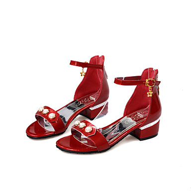 Mujer Zapatos PU Verano Confort / Tira en el Tobillo Sandalias Senderismo Tacón Cuadrado Puntera abierta Perla de Imitación / Hebilla / Cremallera Plateado / Rojo / Rosa