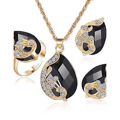 Naisten Kristalli Synteettinen timantti Synteettinen Sapphire Synteettinen Emerald Häät Party Kristalli Tekojalokivi Gold Plated