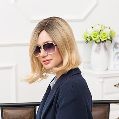 elegantti keskipitkät capless peruukit luonnollinen suorat ihmisen ombre hiukset